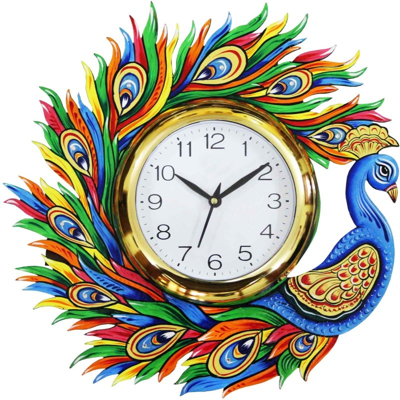 Craft Junction Analog 33 cm Dia Wall Clock(Multicolor, With Glass)
