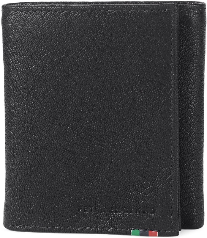 Peter England Men Black Genuine Leather Wallet(9 Card Slots)