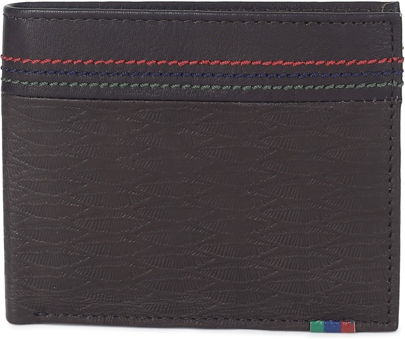 Peter England Men Brown Genuine Leather Wallet(8 Card Slots)