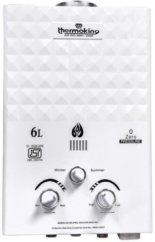 THERMOKING 6 L Storage Water Geyser(White, GAS WATER HEATER WHITE 6 LTR)