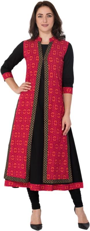 M&D Casual Printed Women's Kurti(Black, Red)