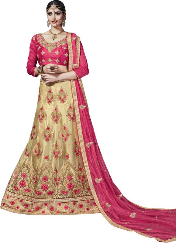 Manvaa Embroidered Lehenga Choli(Beige)