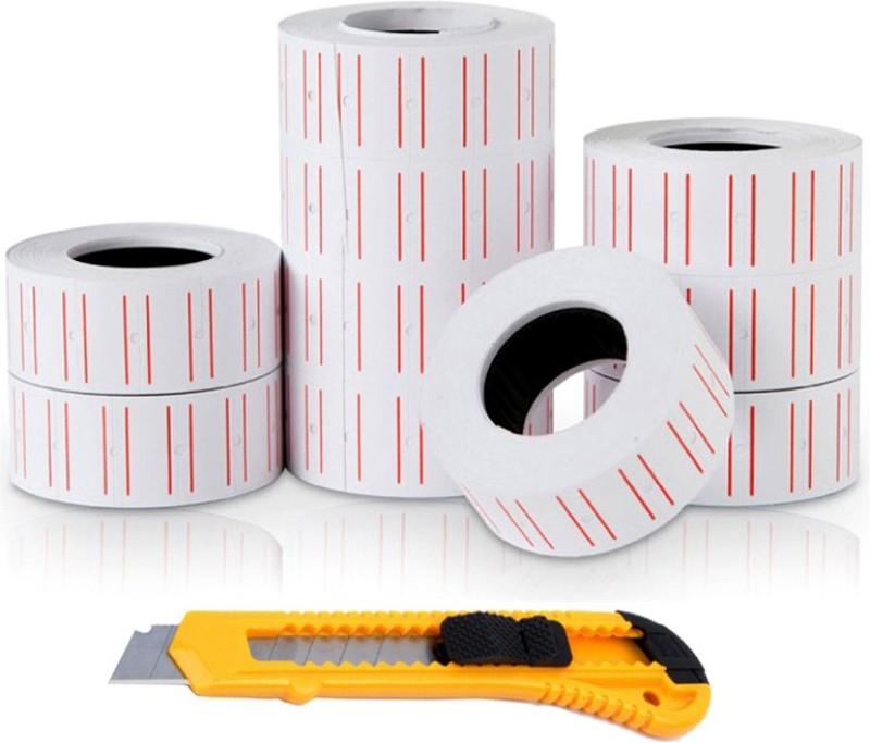 ISC 10 Rolls Price Gun Paper Self-Adesive + Auto Lock Paper Knife Cutter Paper Label(White)