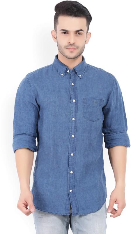 Gant Mens Solid Casual Blue Shirt