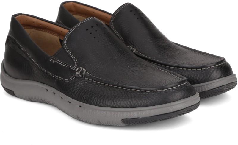 Clarks Unmaslow Easy Black Leather Boat Shoes For Men(Black)