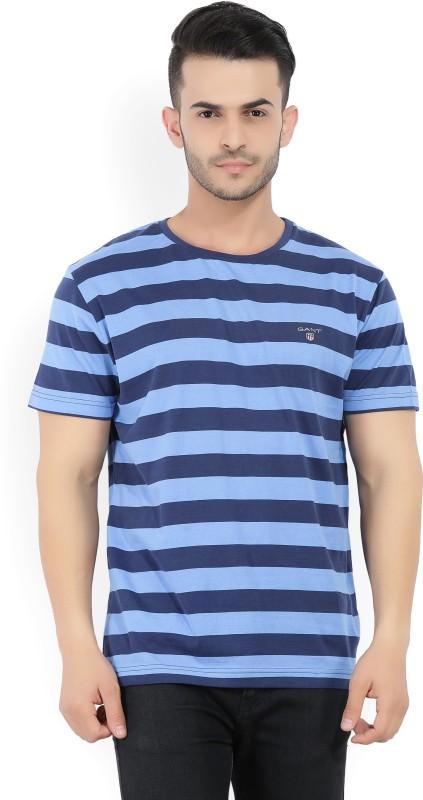 Gant Striped Mens Round Neck Blue T-Shirt