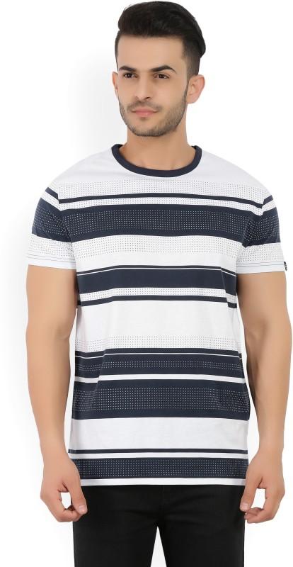 Gant Striped Mens Round Neck White, Dark Blue T-Shirt