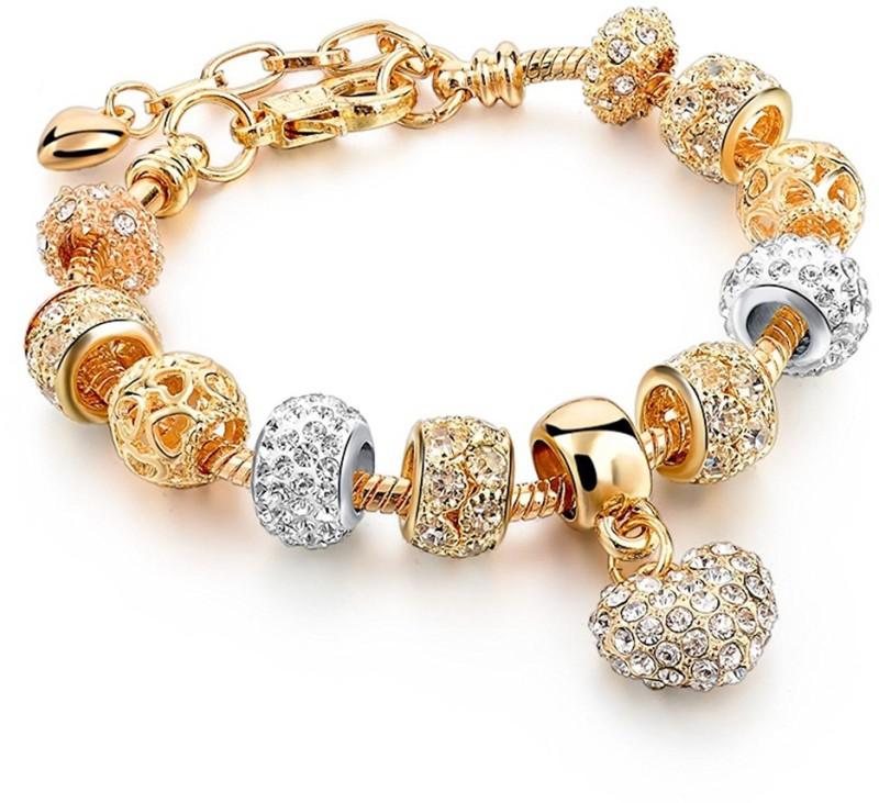 Yellow Chimes Crystal Crystal Brass Charm Bracelet