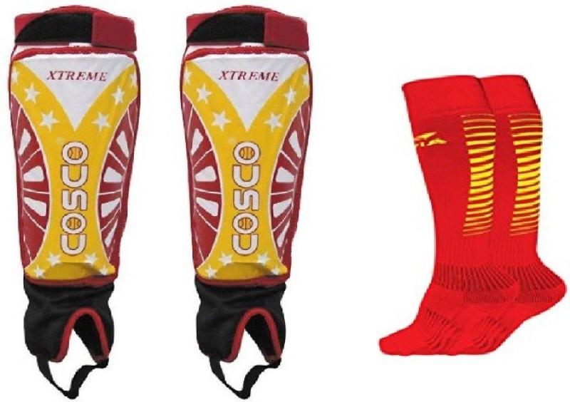 Cosco Combo of two, one Pair of Xtreme Shin Guard and one Pair of Encounter Socks (Color On Availability)- Football Kit
