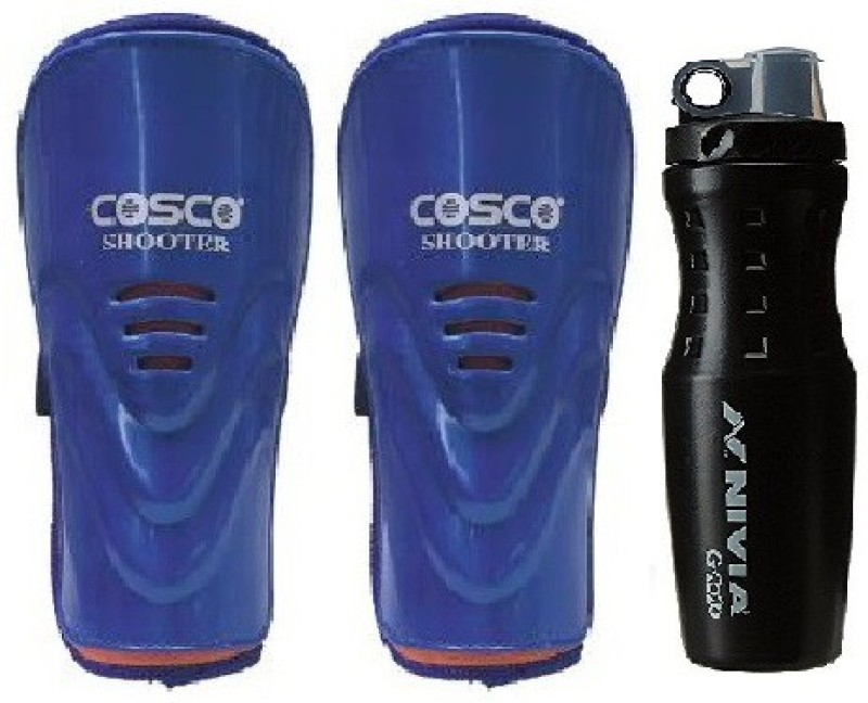 Cosco Combo of two, one Pair of Shooter Shin Guard and one G 2020 Sipper (Color On Availability) Football Kit