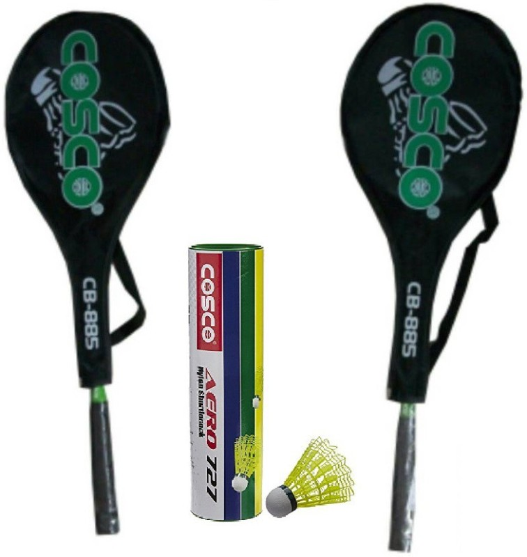 Cosco Combo of Three, Two Cb 885 Badminton Racquet and one box Aero 727 Shuttlecock (Pack of 6) (Color On Availability)- Badminton Kit