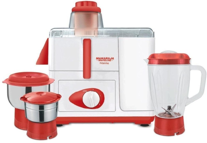 Maharaja Whiteline Maximo 230 Juicer Mixer Grinder(Red, White, 3 Jars)