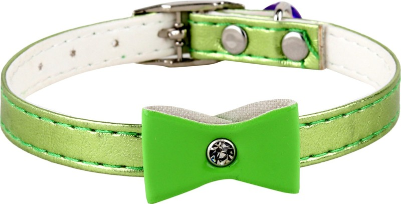 SRI High Quality Designer Adjustable Bow Design Collar For Puppy/Cat Cat Everyday Collar(Small, GREEN)