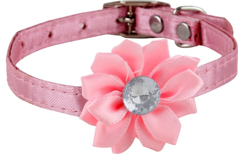 SRI High Quality Designer Adjustable Flower Collar For Puppy/Cat Cat Everyday Collar(Small, PINK)