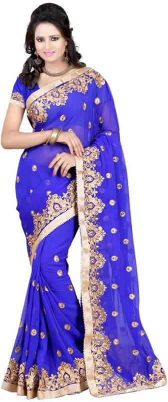 Darshita International Self Design, Embroidered Fashion Georgette Saree(Blue)