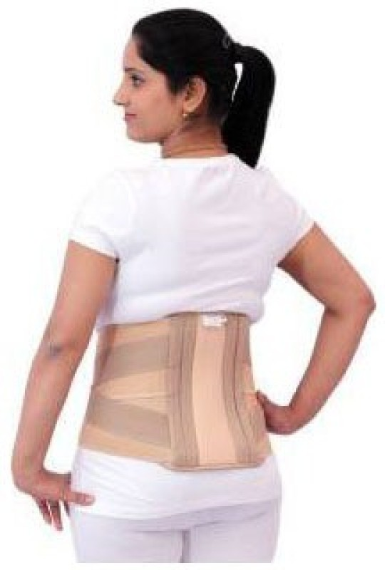 A R Contoured Lumbar Sacral (L.S.) Belt Back Pain Abdominal Back Support Eco ( 90 cm to 100 cm) Lumbar Support (L, Beige)