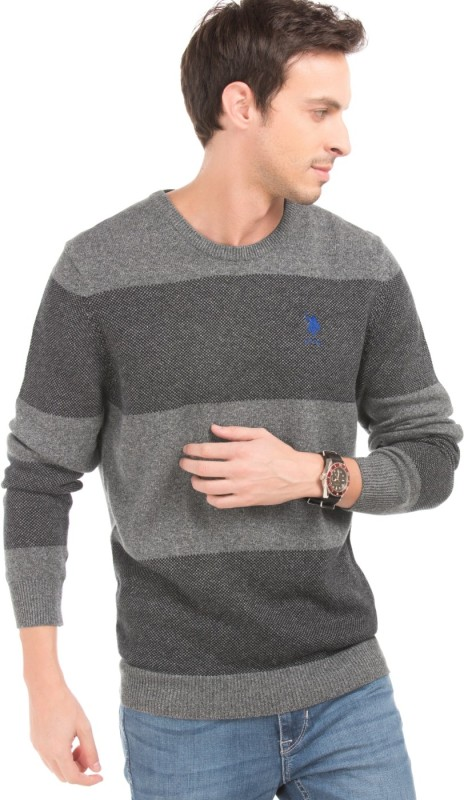 U.S. Polo Assn Striped Round Neck Casual Men Grey Sweater