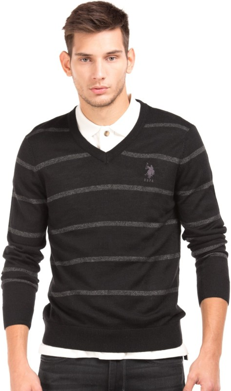 U.S. Polo Assn Striped V-neck Casual Men Black Sweater