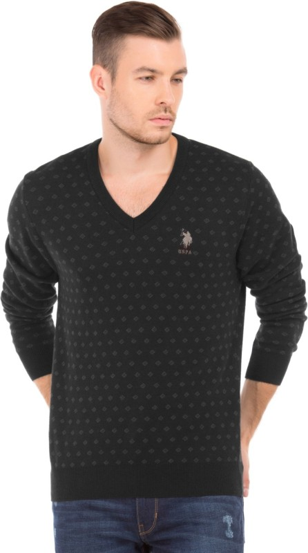 U.S. Polo Assn Printed V-neck Casual Men Black Sweater