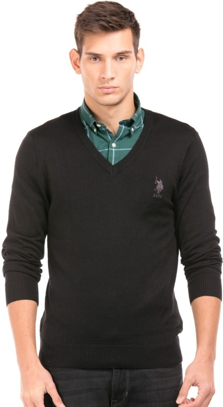 U.S. Polo Assn Solid V-neck Casual Men Black Sweater