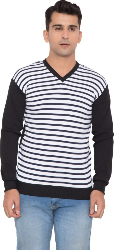 you fashion Striped V-neck Casual Men White Sweater