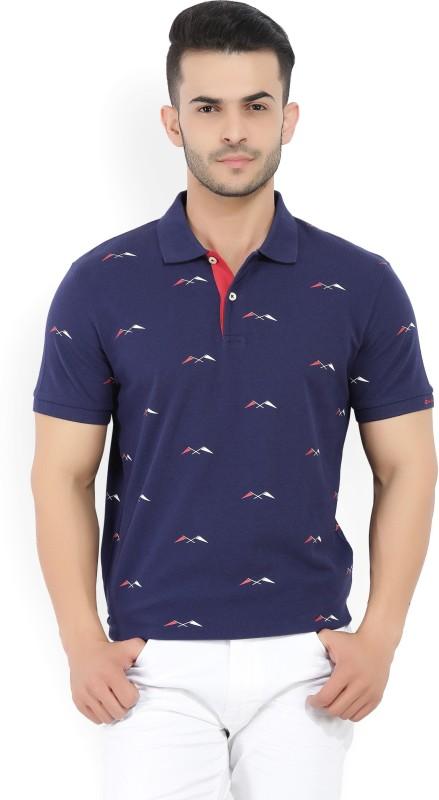 Gant Printed Mens Polo Neck Blue T-Shirt
