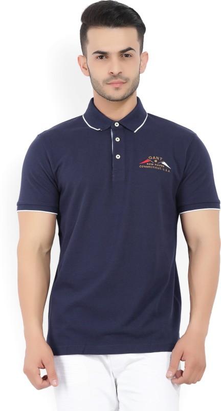 Gant Solid Mens Polo Neck Dark Blue T-Shirt