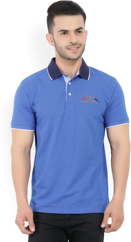 Gant Solid Mens Polo Neck Blue T-Shirt