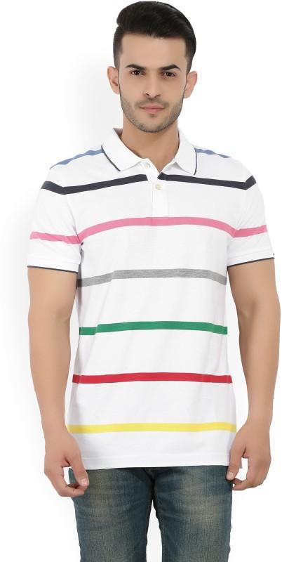 Gant Striped Men Polo Neck White T-Shirt