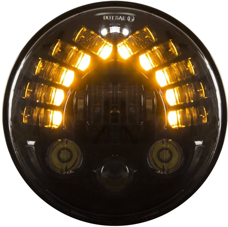 Andride 7 Inch Headlight With Indicator Teeth Led & Headlights With High Low Beam + White Drl+Yellow Turn Signal For Royal Enfield Bullet Models /Jeep And Mahindra Thar (Single Unit) Projector Lens