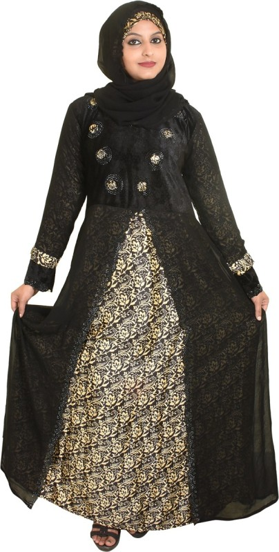 Just Khatoon ABA000102 Lycra, Chiffon Floral Print Burqa With Hijab(Black)