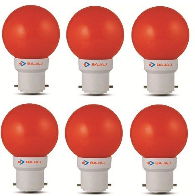 Bajaj 0.5 W Round B22 LED Bulb(Red, Pack of 6)