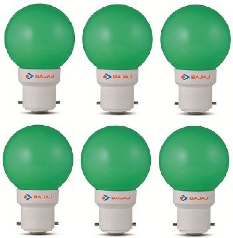 Bajaj 0.5 W Round B22 LED Bulb(Green, Pack of 6)
