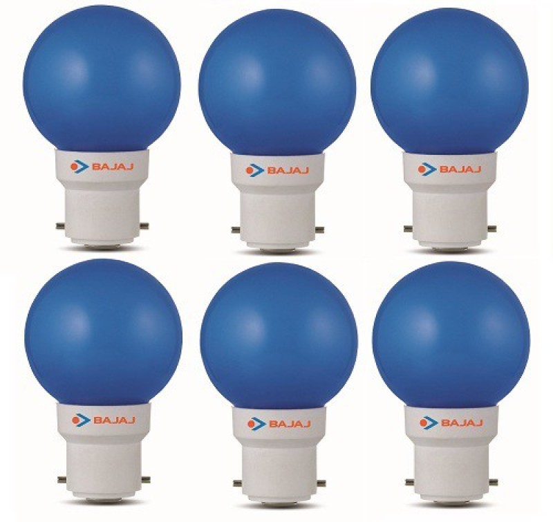 Bajaj 0.5 W Round B22 LED Bulb(Blue, Pack of 6)