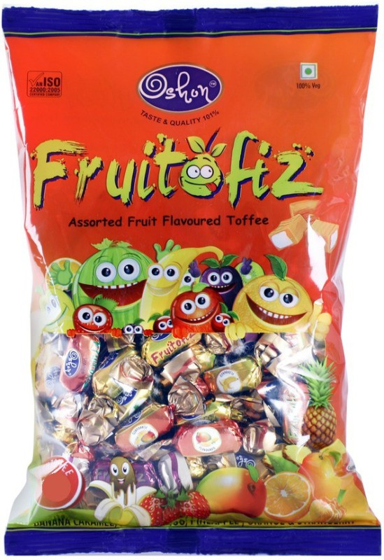 Oshon Fruitofiz, 110 Pieces Pouch Assorted Fruit Toffee(500 g)