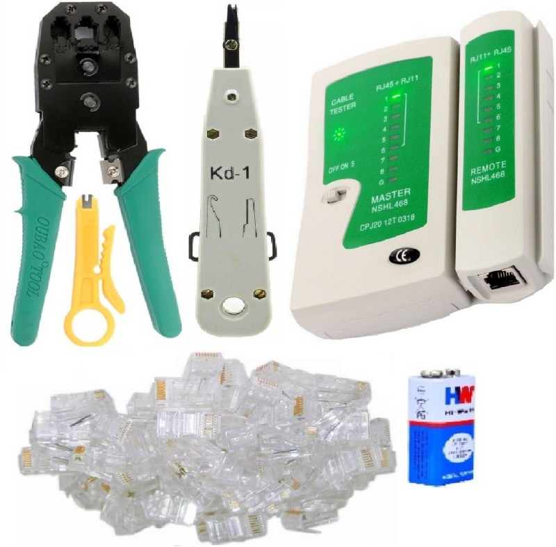 BalRama Combo Crimping Tool + Network LAN Cable Tester + RJ 45 Connectors Cable Plug Heads Multifunctional Tools for IT Laptop Computer Network Profeesionals Manual Crimper