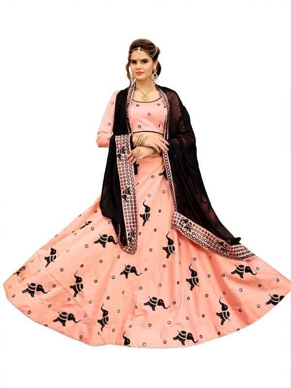 fabkaz Embroidered Lehenga, Choli and Dupatta Set(Pink)