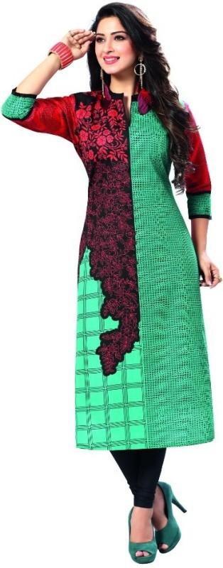 south adda Casual Printed Women's Kurti(Red)