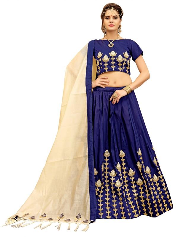 KMOZI Self Design Semi Stitched Lehenga, Choli and Dupatta Set(Blue)