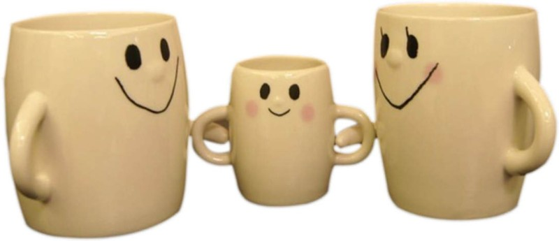 BonZeal Beautiful Ceramic Drinking Tea Coffee Milk Family Gift Set (Set of 3) Ceramic Mug(200 ml, Pack of 3)