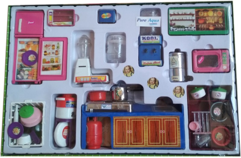 VShine Modern Kitchen Set for kids with refrigarator, mixer , stove and accessories 48 pcs