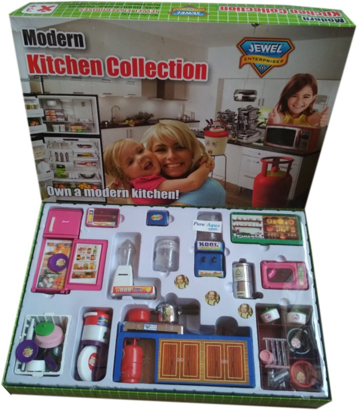 HALO NATION Modern Kitchen Set 48 with refrigarator, mixer , stove and accessories 48 pcs
