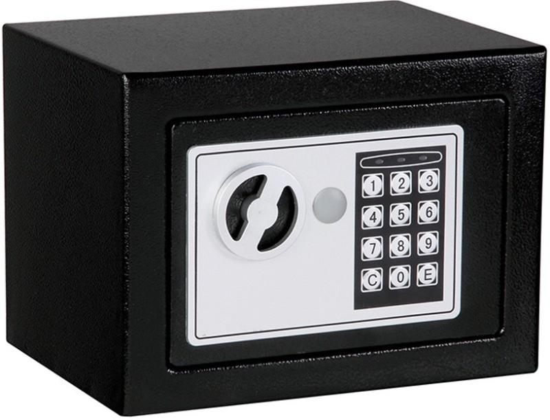 Sukot Safe Jewelry Cash Locker Black Steel Digital Electronic Safe Coded Box Home Office Hotel Safe Locker(Key Lock)