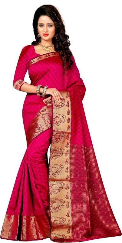 The Fashion Outlets Striped Kanjivaram Art Silk, Jacquard Saree(Pink)