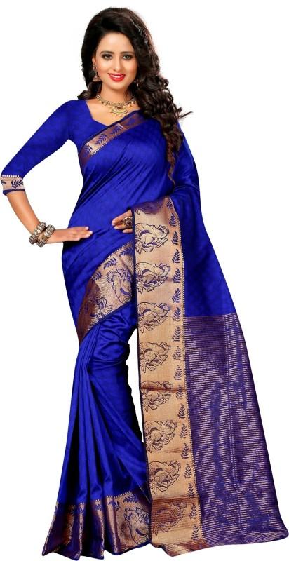 The Fashion Outlets Striped Kanjivaram Art Silk, Jacquard Saree(Blue)