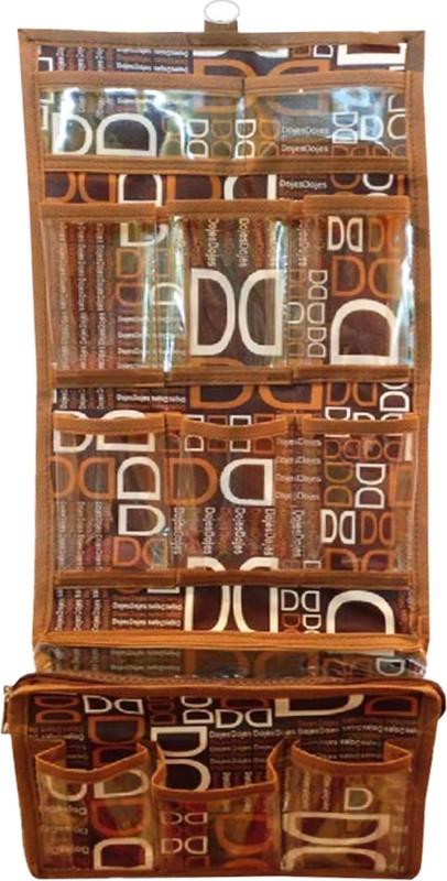 Atorakushon Printed Long Folding Hanging Cosmetic Makeup Travel Wardrobe Organizer kit with Zip Regular storage jewellery Vanity Box (Brown) Ideal for:Storage of Payal, Watch, Chain, Bracelet Bindi,jewellry Cosmetics etc,Keep your Valuable item safe & Dus