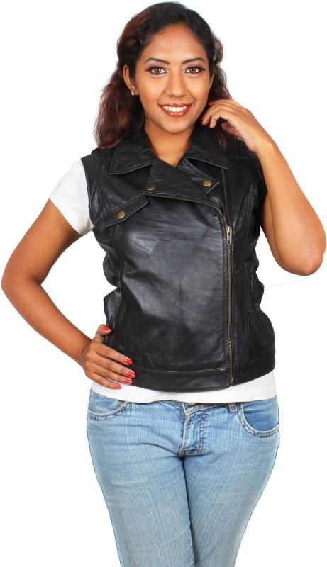 Marson Leather Sleeveless Solid Women Jacket