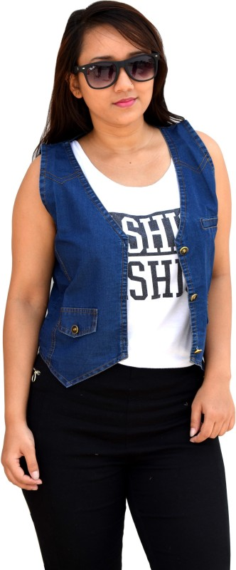 Aarti Collections Sleeveless Solid Women Denim Jacket