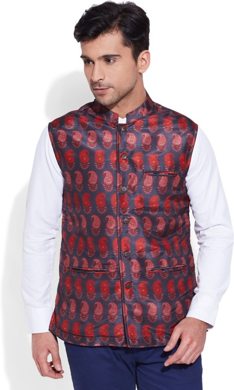 Very Me Sleeveless Self Design Mens Jacket