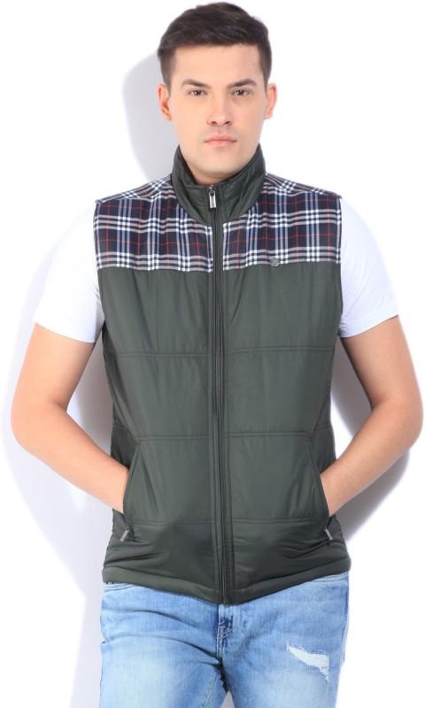Peter England Sleeveless Self Design Mens Jacket